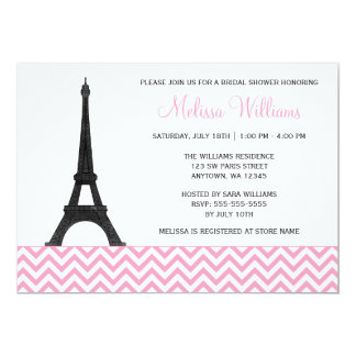 Paris Chevron Pink Black Bridal Shower Card