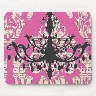 Paris chic hot pink damask vintage chandelier mouse pad