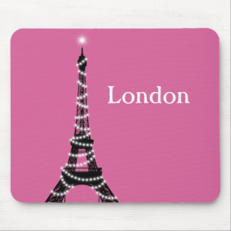 París chispea por todas partes fucsia del cojín de alfombrillas de ratón