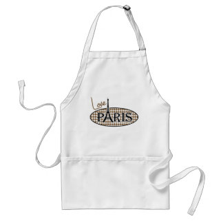 Paris; Chocolate Brown Houndstooth Adult Apron