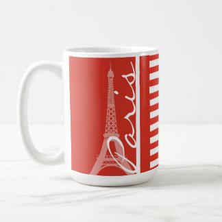 Paris; Cinnabar Color Horizontal Stripes Coffee Mug