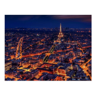Paris City Night Eiffel Tower European Art Postcard
