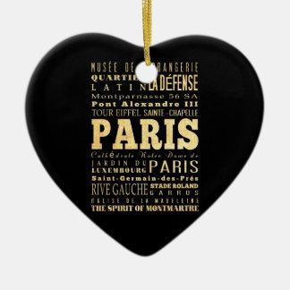 Paris City of France Typography Art Ceramic Ornament