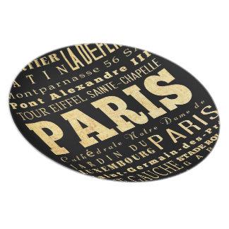 Paris City of France Typography Art Dinner Plate