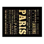 Paris City of France Typography Art Postcards