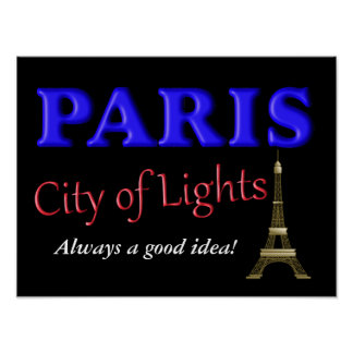 Paris City of Lights - postcard Poster