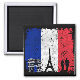 Paris city of love 2 inch square magnet