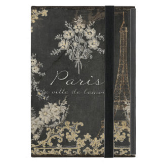 Paris City of Love Eiffel Tower Chalkboard Floral Covers For iPad Mini