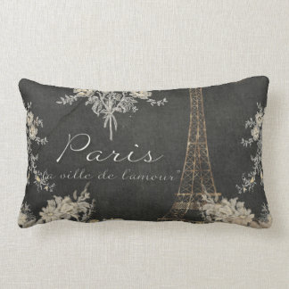 Paris City of Love Eiffel Tower Chalkboard Floral Lumbar Pillow