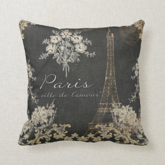 Paris City of Love Eiffel Tower Chalkboard Floral Throw Pillow