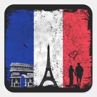 Paris city of love square sticker