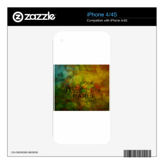 Paris City Skyline on Grunge Background Skin For The iPhone 4S