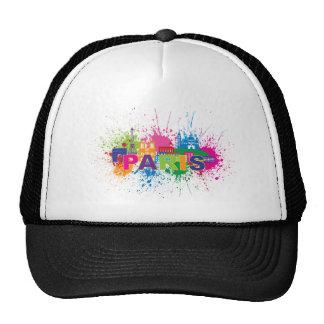Paris City Skyline Paint Splatter Illustration Trucker Hat