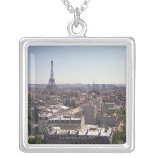 Paris cityscape,  Paris,  France Square Pendant Necklace