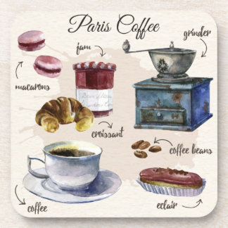 Paris coffee and pastry treats illustration coaster