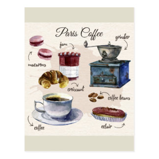 Paris coffee and pastry treats illustration postcard