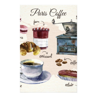 Paris coffee and pastry treats illustration stationery