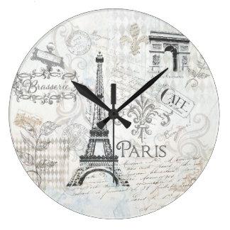 Paris Collage art Clock