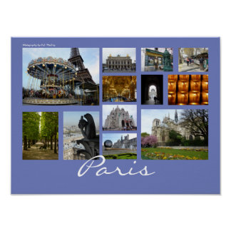 Paris Collage (Landscape) Poster
