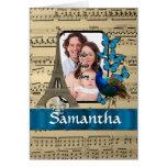 Paris collage on music sheet card