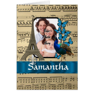 Paris collage on music sheet card