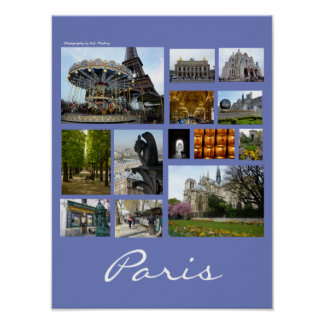 Paris Collage (Portrait) Poster