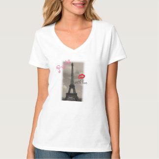 """""""París con camiseta del NanoV-Cuello de Hanes de Poleras"""