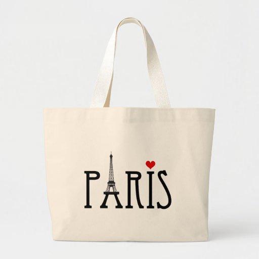 París con la torre Eiffel y el corazón rojo Bolsa Tela Grande