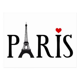 París con la torre Eiffel y el corazón rojo Postales