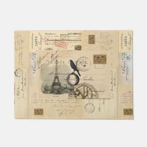 Paris Crow Globe French Postcard Doormat Zazzle