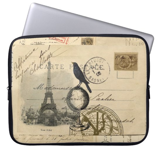 Paris Crow Globe French Postcard Laptop Sleeve