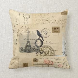 Paris Crow Globe French Postcard Pillow
