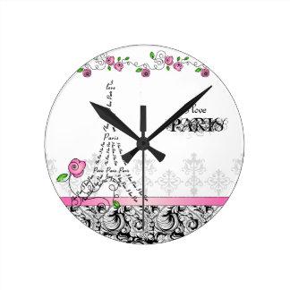 Paris Custom Clock Pink Roses