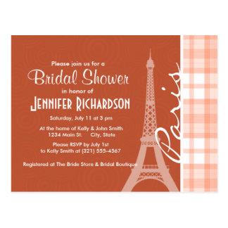 Paris; Cute Orange Plaid Postcard