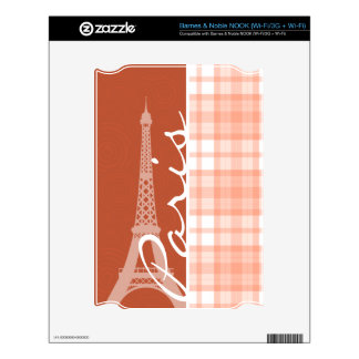 Paris; Cute Orange Plaid Decal For NOOK