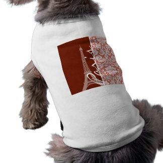 París; Damasco anaranjado Camisa De Perro