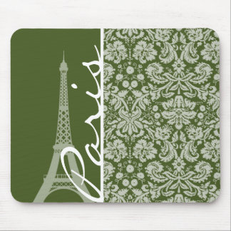 París; Damasco oscuro del verde de musgo Tapetes De Ratones
