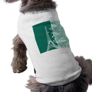París; Damasco verde de Seafoam Ropa Para Mascota