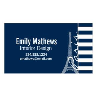 Paris; Dark Midnight Blue Horizontal Stripes Business Card