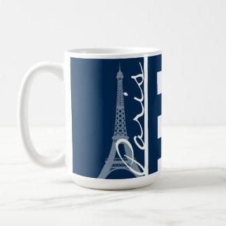 Paris; Dark Midnight Blue Horizontal Stripes Coffee Mug