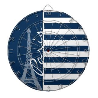 Paris; Dark Midnight Blue Horizontal Stripes Dartboard With Darts