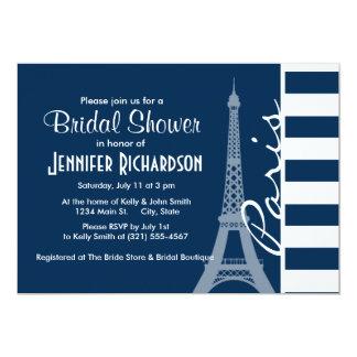 Paris; Dark Midnight Blue Horizontal Stripes Personalized Invitation