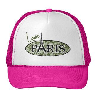 Paris; Dark Moss Green Damask Trucker Hat