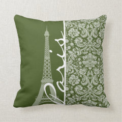 Paris; Dark Moss Green Damask Throw Pillows