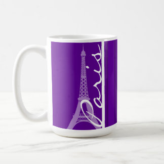 Paris; Dark Violet Vertical Stripes Coffee Mug