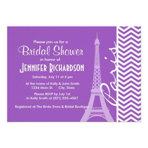 Paris; Deep Lilac Chevron Stripes Personalized Invites