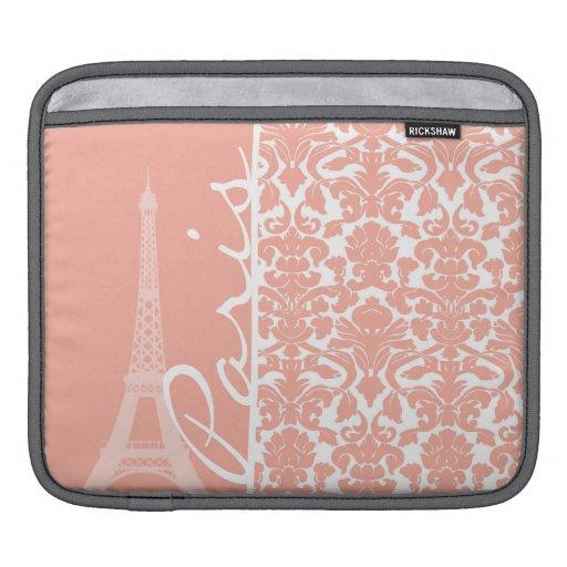 Paris; Deep Peach Damask iPad Sleeves