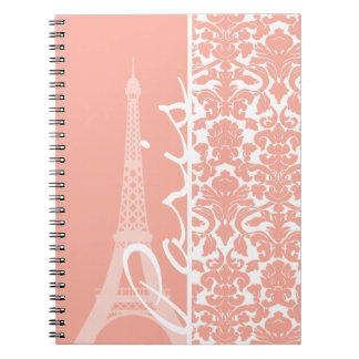 Paris; Deep Peach Damask Note Books