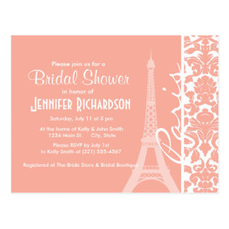 Paris; Deep Peach Damask Postcard
