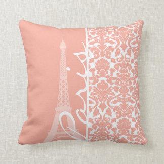 Paris; Deep Peach Damask Throw Pillow
